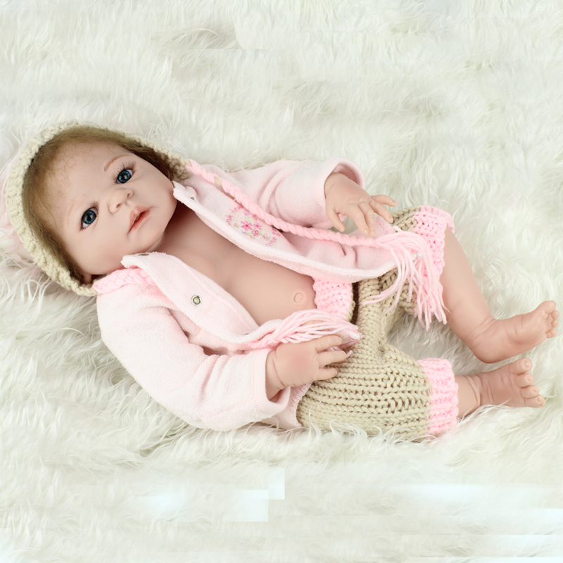 купить Kawaii Doll Mohair Full Body Silicone Reborn Dolls Toys 22inch Doll Baby Reborn Lifelike Newborn Babies Doll Toys For дешево