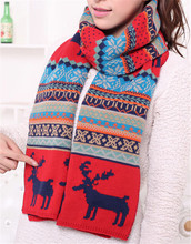 Fashion Christmas Gift Wool Winter Scarf Women Spain Desigual Scarf Plaid with deer Thick Brand Shawls and Scarves for Women