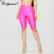 Colysmo Active Wear Biker Shorts Women 2019 Elastic High Waist Shorts Summer Neon Pink Ladies Sexy Shorts Green Short Feminino