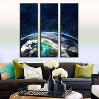 3 Pcs/Set Space Overlooking the Earth Decorative Picture Artist Canvas Prints Wall Pictures for Living Room