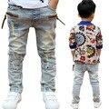 Venta caliente de Alta calidad 2016 de Primavera y Otoño de los niños pantalones de los muchachos de bebé Elástico joker jeans vaqueros de los niños envío gratis