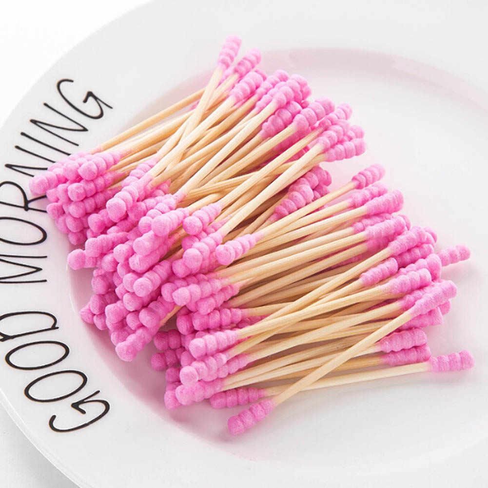 100 unids/pack doble cabeza algodón hisopo mujeres algodón de maquillaje Buds Tip para palos de madera médicos nariz Limpieza de oídos herramientas de cuidado de salud