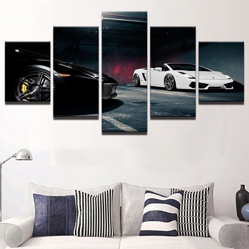 Printed Black White Cool Luxury Sports Cars Poster Picture Painting Wall Art Room Decor Pictures Canvas