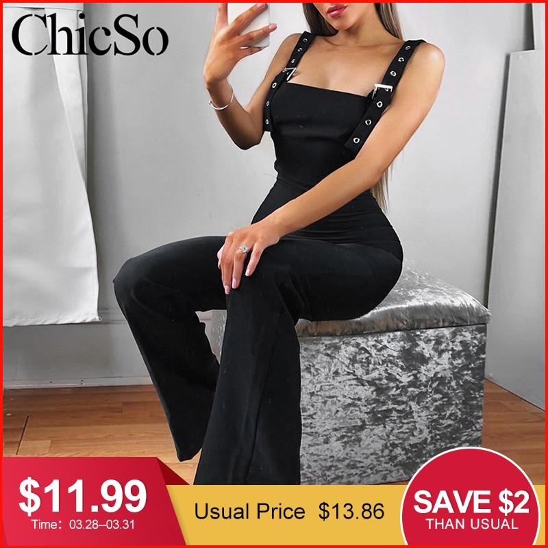 MissyChilli Black sleeveless elegant   jumpsuits   Women wide leg bodycon sexy   jumpsuit   summer high waist party long playsuit female