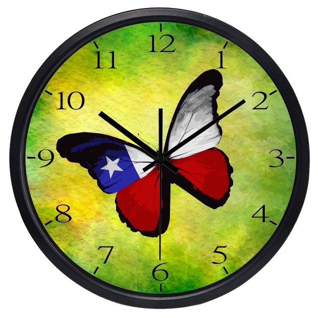 Chile Flag Butterfly Creative Metal Glass Wall Clock Smooth No ...