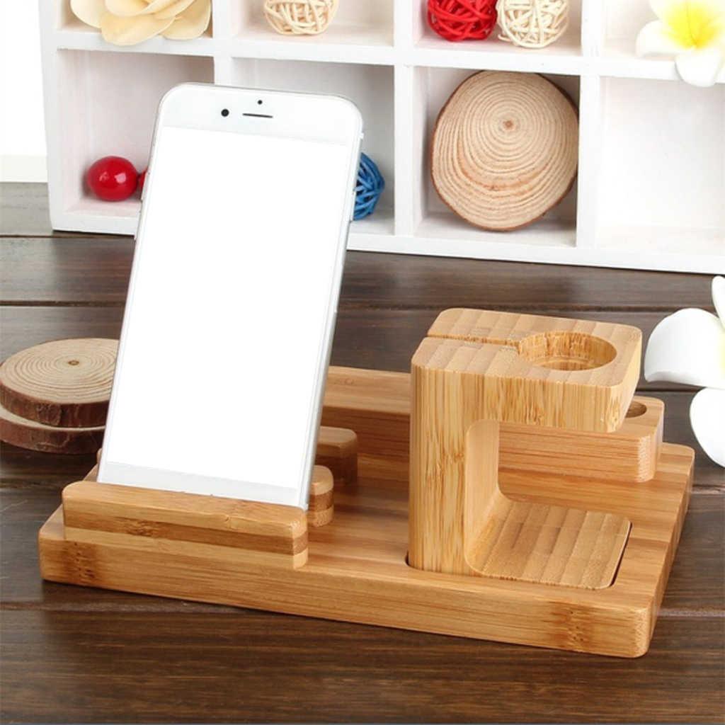 De bambú de madera, muelle de carga soporte de accesorios para reloj de Apple/iPhone/iPad