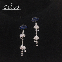 crystal AAA cubic zirconia stone blue Clouds tassel earrings long boucle d'oreille femme 2017 pendientes grandes