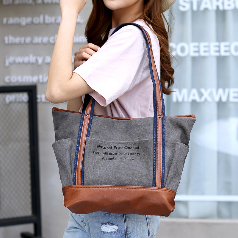 New style canvas bag collision color matching single - shoulder bag handbag letter simple fashion sen women  s bag tide