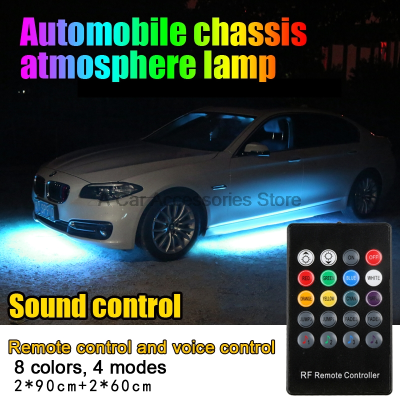 hot  sale Car RGB LED Strip 5050 SMD Decorative Atmosphere Lamps  Underbody System Neon Light Kit With Remote sale multicolor glow neon wireless remote motorcycle rgb 5050 led smd flashing light 12 strips waterproof 15 color