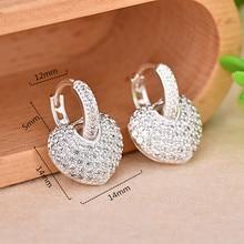 925 Silver Zircon Earrings Women Luxury Heart-shaped and Full Shiny Small Jewelry Earring for Fashion