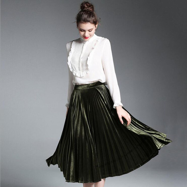 5c63158c1 Runway 2017 Autumn Fashion Women 2 Piece Sets White Silk Shirt And Pleated  Skirt Outfits Casual Sets Knee-Length Skirt