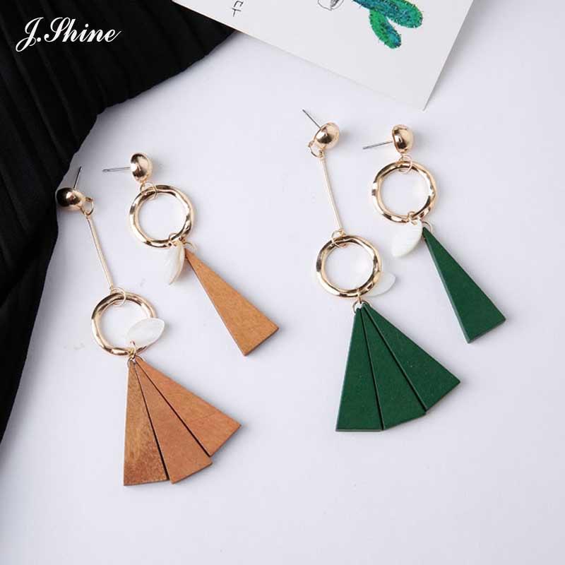 JShine Unique Asymmetric Handmade Geometric Design Wood Dangle Earrings for Women Long Brincos Grandes Fashion Para Mulheres