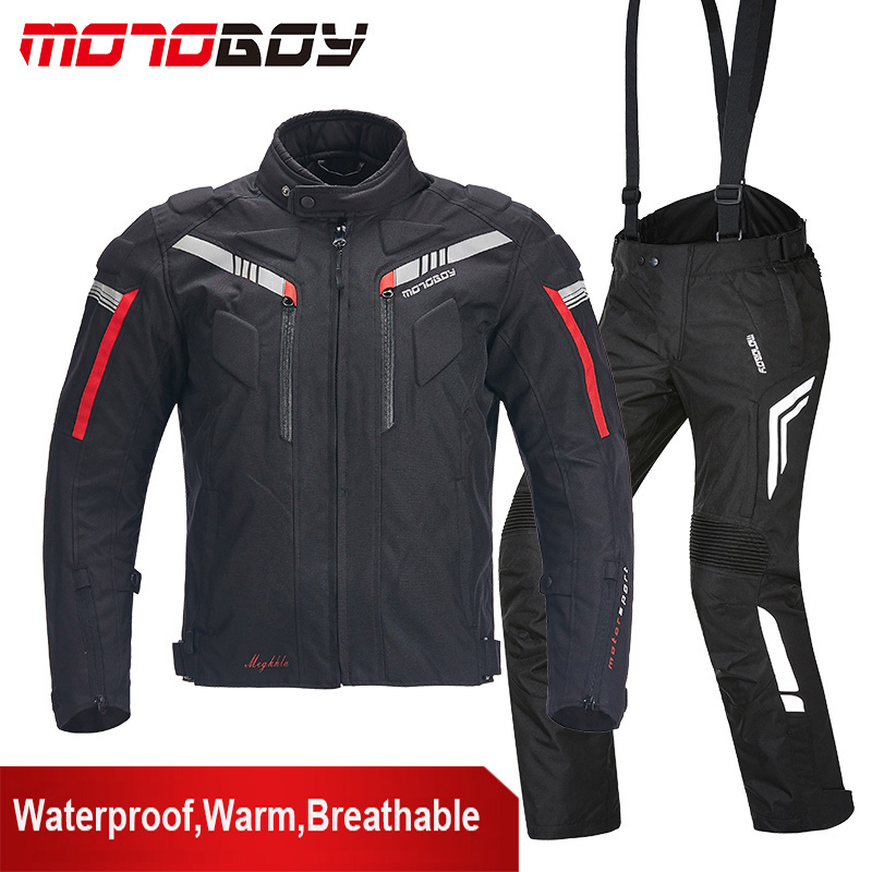 MOTOBOY Men Professional Motorcycle Racing Jacket Pants Waterproof Warm Reflective Motocross Jacket Clothing Suits CE Protection