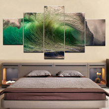 Canvas Wall Art Pictures Framework Living Room Decor 5 Pieces Surge Rolling Green Sea Waves Seascape Paintings HD Prints Poster