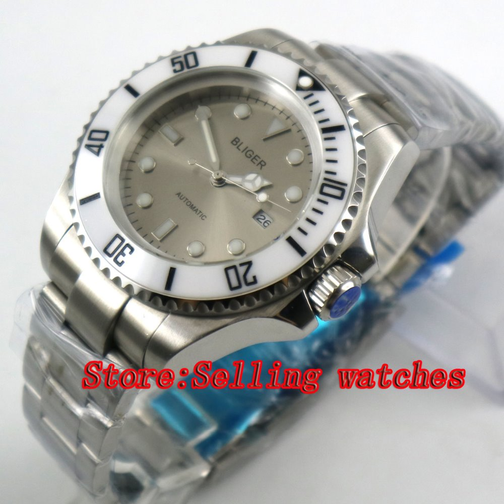 44mm Bliger Gray Dial white Ceramic bezel Sapphire Crystal Date Window Automatic Movement Men's Mechanical Wristwatches 44mm bliger gray dial blue ceramic bezel sapphire crystal automatic movement men s mechanical wristwatches