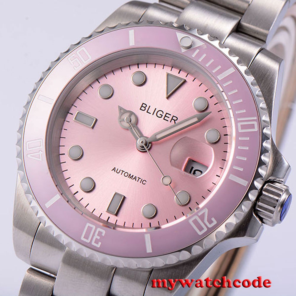 40mm Bliger pink dial vintage sapphire crystal automatic movement womens watch4240mm Bliger pink dial vintage sapphire crystal automatic movement womens watch42