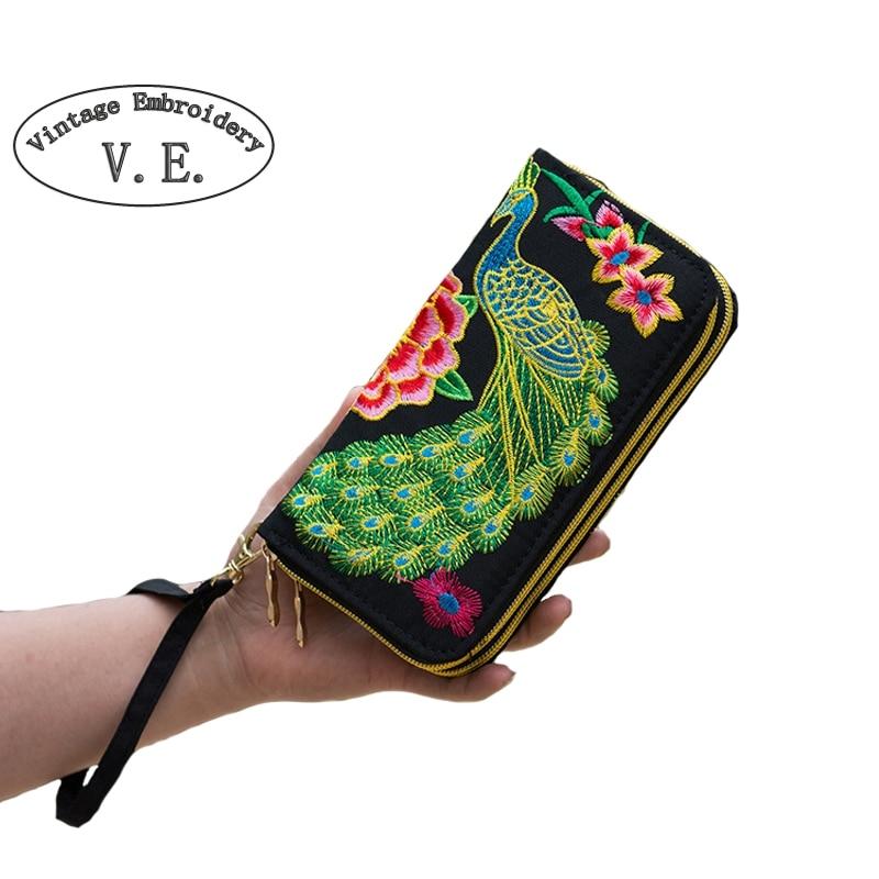 Vintage Embroidery Womens Flower Embroidered Wallet Purse Handmade Ethnic Fashion Long Wallet Phone HandBag bolsos vintage mujer national trend women handmade faced flower embroidered canvas embroidery ethnic bags handbag wml99