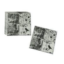 20PCS Vintage Decoupage Flower Bird Butterfly Black White Paper Napkins Table Tissue Wedding Party Festive Decoration(China)