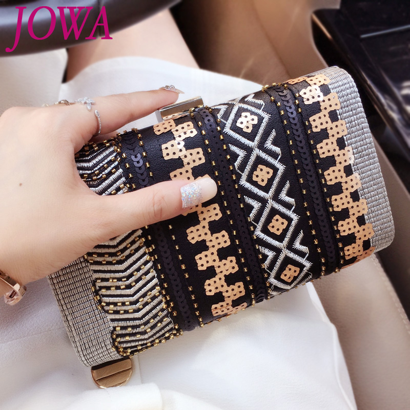2017 New Design Ladies Fashion Evening Bags National Beading Mini Handbags Geometric Sequined Pocket Nights Purse Party Clutches