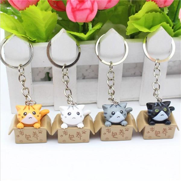 4pcs/lots Random Mixed Style Lovely Cartoon Cat Key Rings Chains Pendant Ornamen