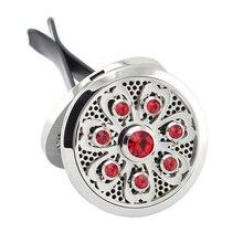 Новый Серебряный Лотос (38 мм) магнит Диффузор Из Нержавеющей Стали Автомобиль Аромат Медальоны Медальон Колодки Кристаллы Эфирное Масло Прокат Диффузор