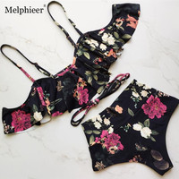2018 New Ruffle Ruched Bandeau Sexy Bikinis Chest Bowknot Swimwear High Waist Swimsuit Women Bikini Set