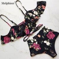 2018 New Ruffle Ruched Bandeau Sexy Bikinis Chest Bowknot Swimwear High Waist Swimsuit Women Bikini Set