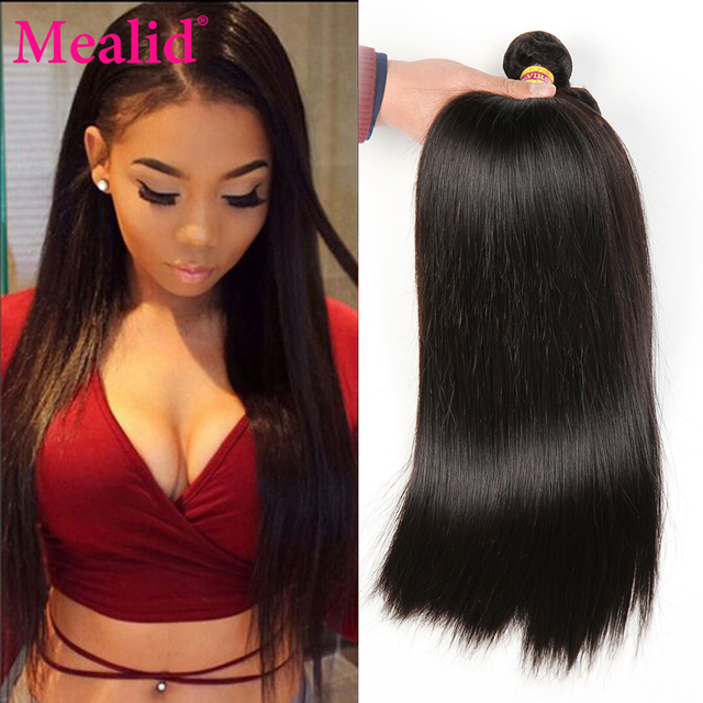 Mealid Brazilian Straight Hair 3 Bundle Deals brazilian Virgin Hair Straight Brazilian Hair Weave Bundles 1b Straight Human Hair