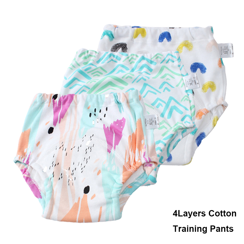 3PCS Baby Infant Toddler Training Pants Waterproof 4Layers Reusable Diapers Cloth Nappies Printed Cotton Baby Underwear Panties