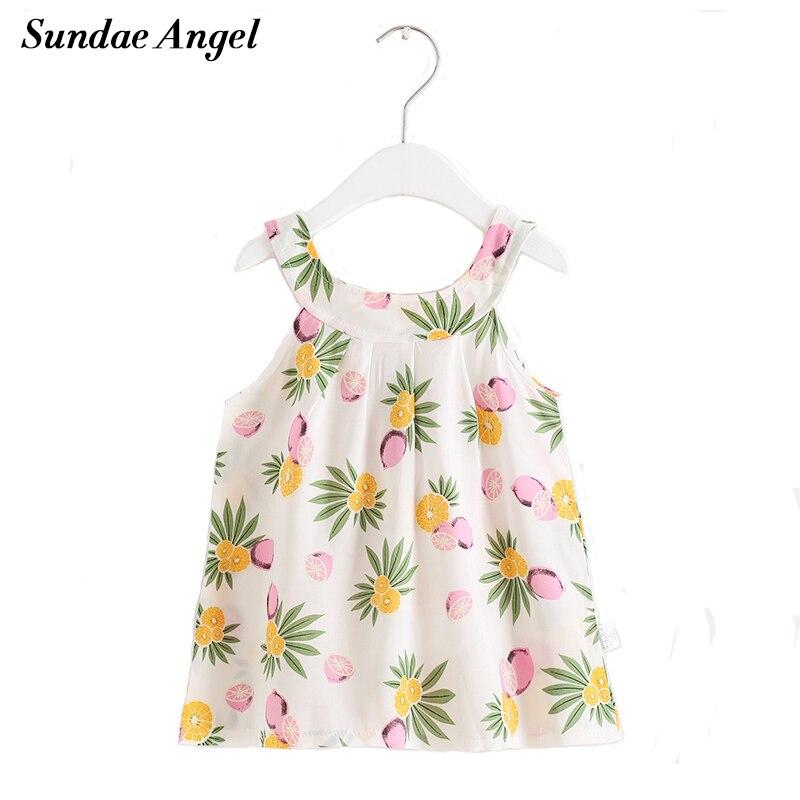 Sundae Angel Baby Girl Summer Clothes Sleeveless Print Pattern Girls Braces Dress Princess Kids Dresses For girls Summer 2-6 Y женская куртка every girl is an angel xz123