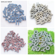 26pcs/set  10mm white blue pink crystal diamond letters for pet collar DIY dog name personalized jewelry decoration