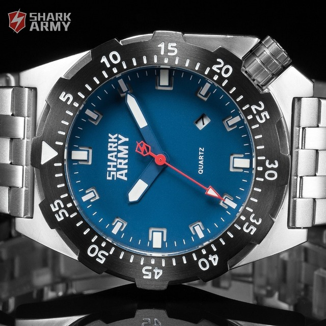 Shark Army Top Brand Man Watch Luminous 10ATM Water Resistant Blue Surfing Military Full Steel Quartz Sport Wristwatches /SAW188 1