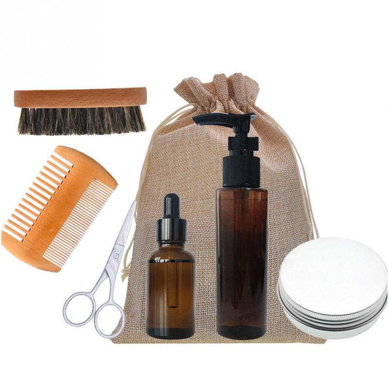 7pcs/Set Men Beard Care kits Set Beard Comb+ Brush+Scissors+Shampool+Scissor +Double-sided Comb Set Beauty Products For Gift