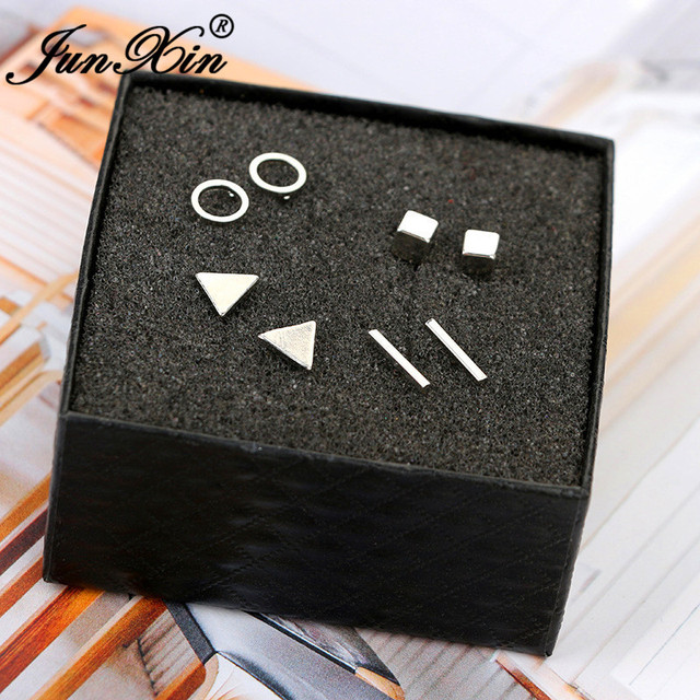 JUNXIN Geometry Small Bar Stud Earrings For Women Men Silver Gold Black Metal Triangle Square Earrings.jpg 640x640 - JUNXIN Geometry Small Bar Stud Earrings For Women Men Silver Gold Black Metal Triangle Square Earrings Set Female Male Studs