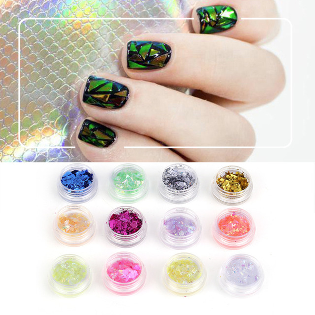 12 Colors Nail Art Glitter Round Shapes Sequins Acrylic Tips Uv Gel