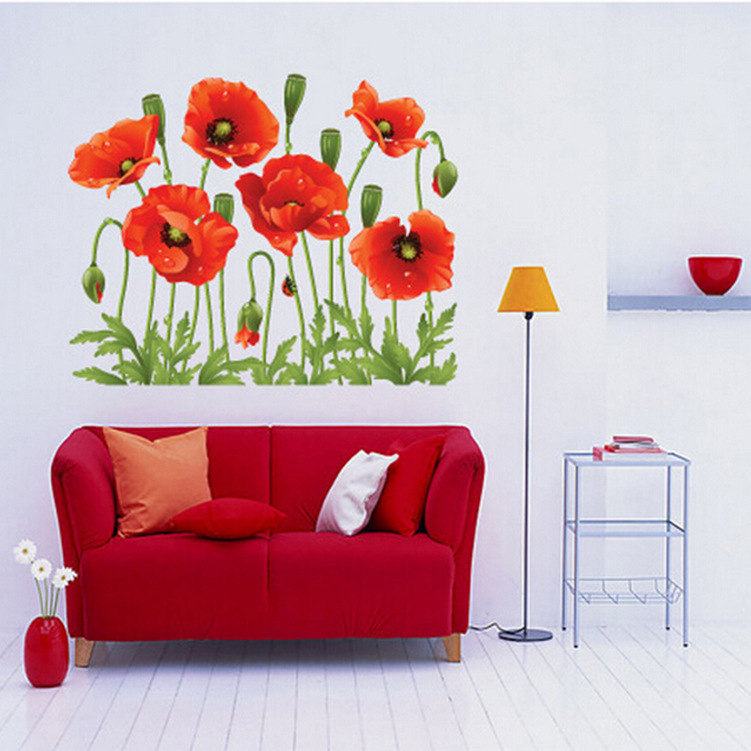 Cheap Sale Red Poppy Removable Wall Decals Home Decor Art Flower