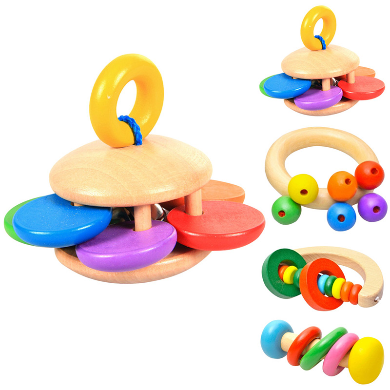 Wooden Bell Rattle Baby Toys Puzzle Handbell Musical Educational Instrument Rattles Toys for Children Geometric Kids