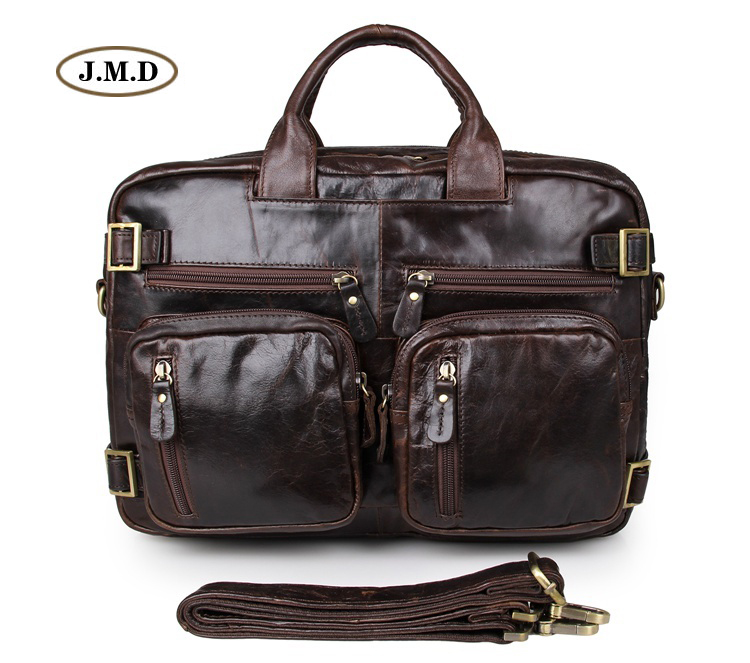 Augus Genuine Vintage Leather Men's Briefcase Multifunction Handbag Multi-Compartment Design Messenger Bag 7026Q-1