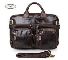 J.M.D Genuine Vintage Leather Mens Briefcase Multifunction Handbag Multi-Compartment Design Messenger Bag 7026Q-1