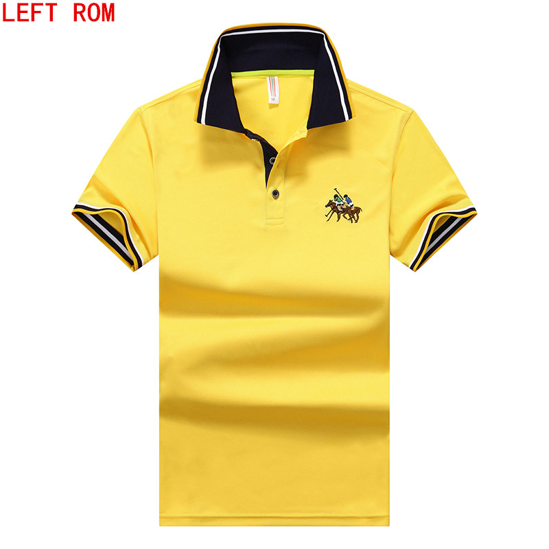 summer autumn new men's boutique embroidery   polo   shirt Men's Business Solid lapel Slim Men's short-sleeved cotton   polo   shirt