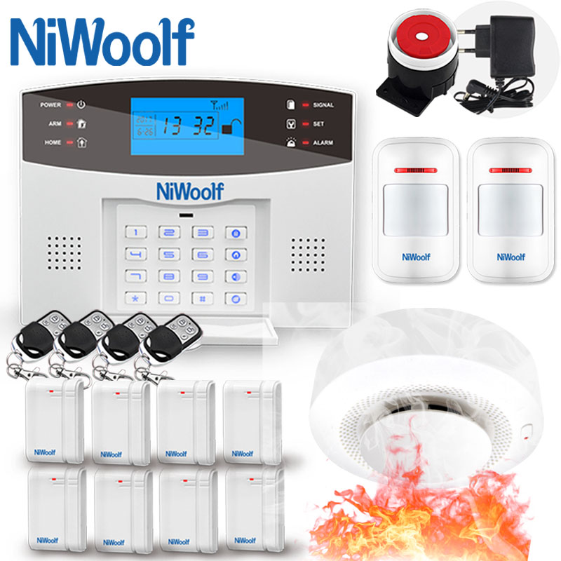 NiWoolf Wireless Wired GSM Alarm System Home Burglar Alarm Door Open Motion Infrared Sensor Smoke Detector Battery Work 10 Years