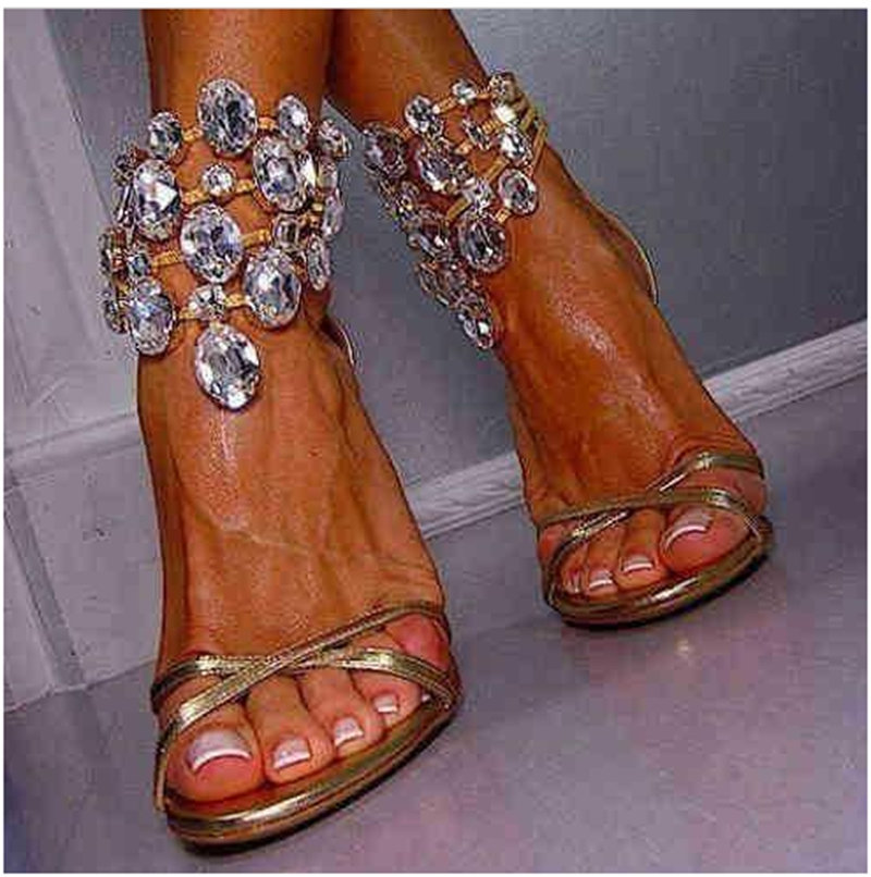 Golden Color Huge Rhinestone Ankle Wrap Dress Sandals 2017 Summer Shoes  Women High Heels Sexy Luxury Sandal e4477840d657