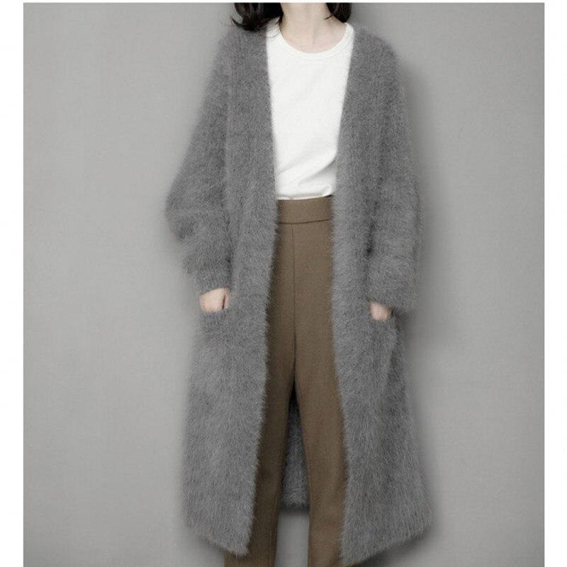 Véritable vison pull en cachemire femmes pur cachemire cardigan tricoté vison cachemire hiver long manteau de fourrure livraison gratuite S1226