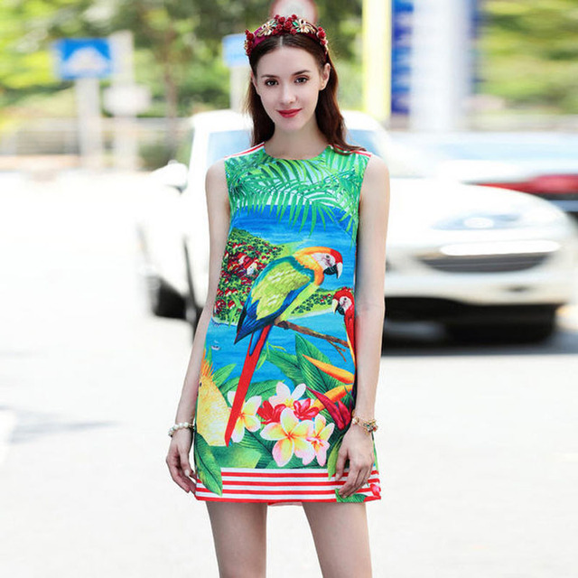 Alta qualità 2017 estate designer runway senza maniche con strass bottoni  jacquard dress donna ragazze parrot 4f113325b27