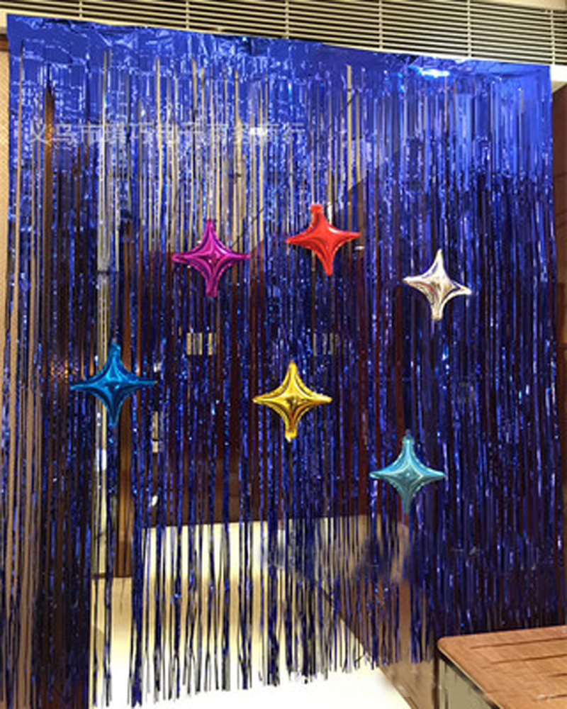 Metallic foil tinsel fringe curtain door rain home room for Background curtain decoration