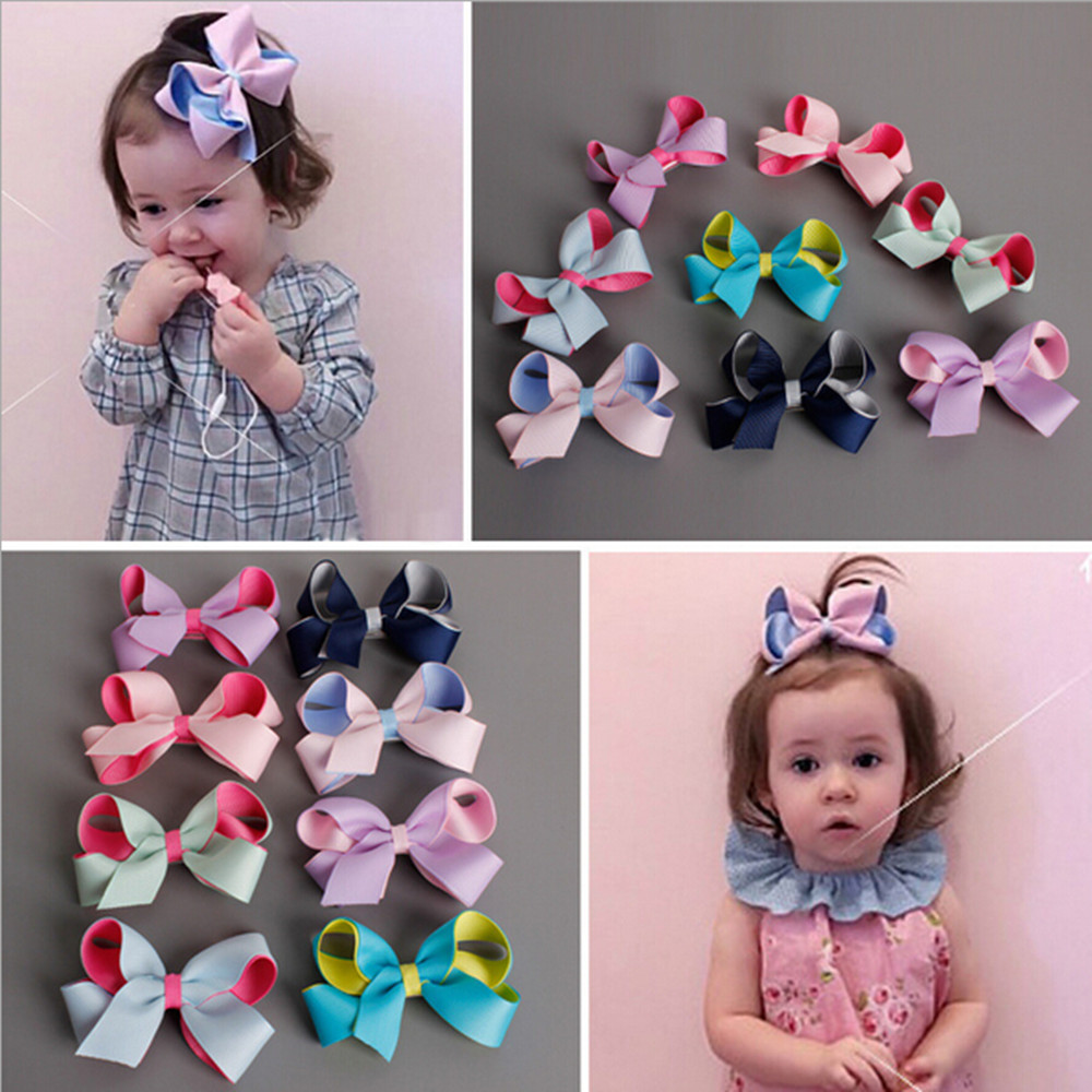 1 Set(8 pcs) Patchwork Ribbon Headwear Hairbow With Flat Knot Covered Safety Clip For Girl Handmade Barrettes Hairpins Headwear