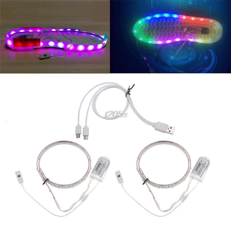 1 Pair Waterproof USB LED Shoes Strip Light 0.65mx2 RGB SMD3528 Flexible Decor T15 Drop Ship