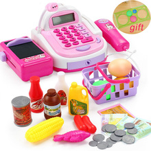 Kids Supermarket Cash Register Electronic Toys with Foods Basket Money Children Education Pretend Play for