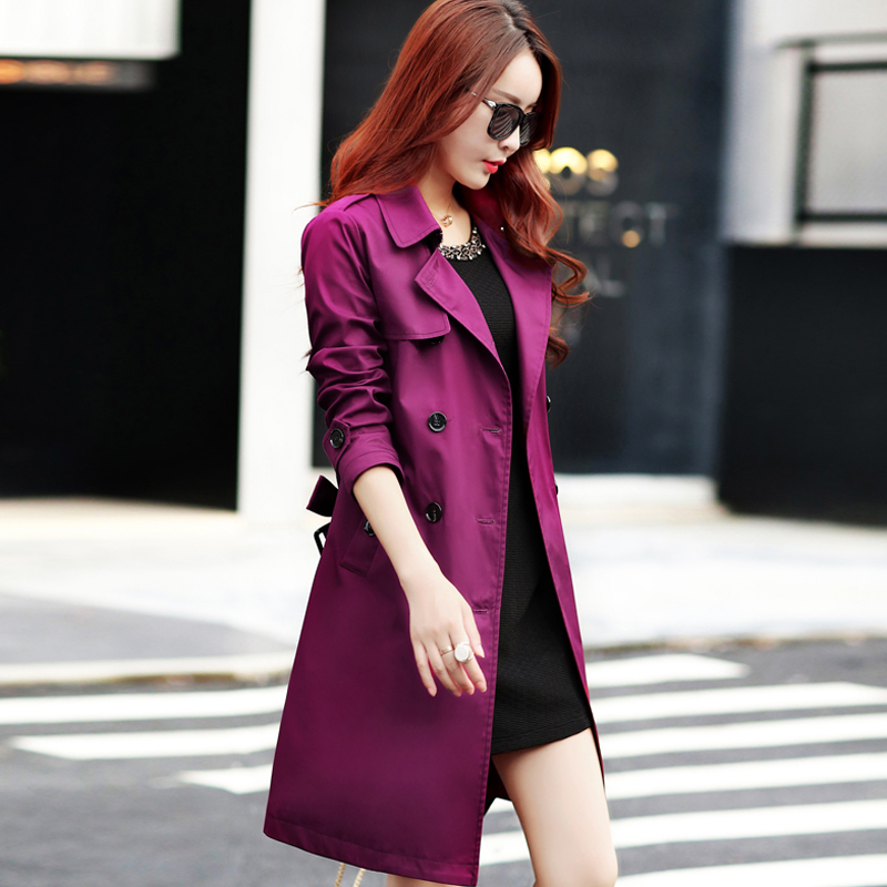 Trench Coat for Women 2019 Streetwear Turn-down Collar Slim Fit Double Breasted Autumn Ladies Long Coat Plus Size 3XL