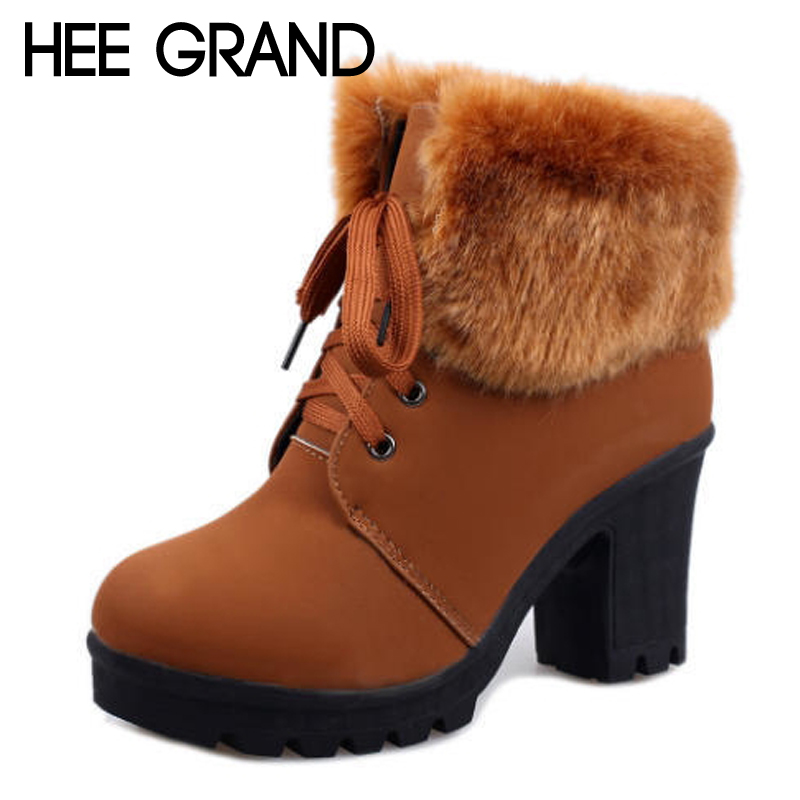 HEE GRAND Warm Fur Faux Suede Women Ankle Boots Lace Up Casual Shoes Woman Gladiator Round toe Women Flats Shoes XWX6818 hee grand lace up gladiator sandals 2017 summer platform flats shoes woman casual creepers fashion beach women shoes xwz4085